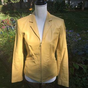 Ann Taylor Yellow Leather Moto Jacket